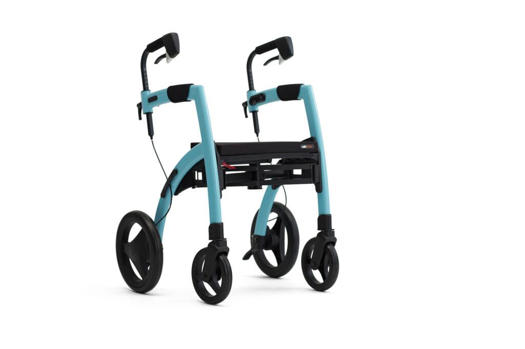 Blauwgekleurde Rollz Motion rollator rolstoel (fauteuil roulant)