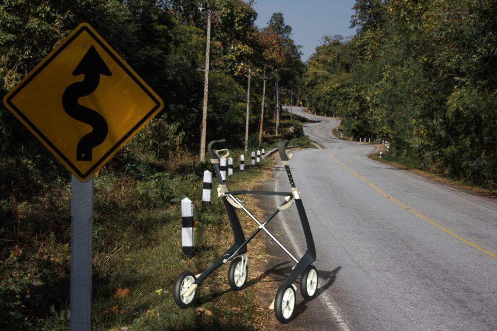 Carbon Ultralight déambulateur dans autoroute